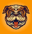 funny pug head dog mascot vector image