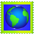 Globe on postage stamp vector image vector image