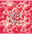 glowing hearts love you triangle frame decoration vector image