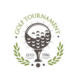 golf tournament logo est 1986 retro sport label vector image vector image