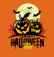 halloween pumpkins on orange vector image vector image