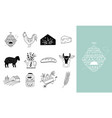 hand drawn farm icon set in doodle style vector image vector image