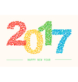 Happy New Year 2017 colorful greeting card vector image