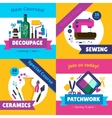 Hobby Workshop Courses 4 Flat Icons vector image vector image
