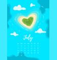 july 2018 year calendar page vector image vector image