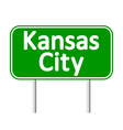 Kansas City green road sign vector image vector image