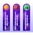 kids bookmarks with cartoon planets in space vector image