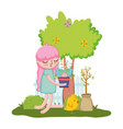 little girl lifting houseplant with fence and vector image