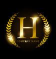 luxury golden letter h for premium brand identity vector image vector image