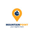 mountain with pin point location symbol logo vector image
