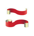 pair of red web ribbon banners vector image