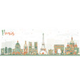 paris skyline with color landmarks vector image vector image