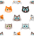 pattern with icons of cute cat faces vector image vector image