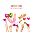 photo booth masquerade background vector image vector image