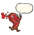 rare steak cartoon character with speech bubble vector image vector image