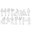 set male workers from different delivery vector image vector image