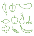 Set of one line fruits and vegetables vector image vector image
