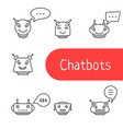set of simple thin line chatbot icon vector image vector image