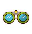 shadow green binoculars cartoon vector image vector image