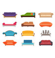 sofa colored set comfortable couch vector image vector image