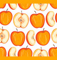 stylized apples seamless pattern hand drawn vector image