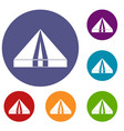 Tourist camping tent icons set vector image