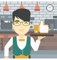 Waiter with like button vector image vector image