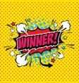 winner comic speech bubble cartoon vector image vector image