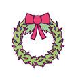 wreath ribbon foliage decoration merry christmas vector image vector image