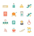 Airport icons flat set with baggage check airplane vector image