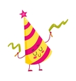 Funny birthday hat character with a smiling face vector image