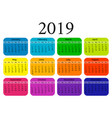 2019 calendar isolated on a white background vector image vector image