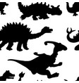 a seamless repeating pattern of dinosaurs vector image