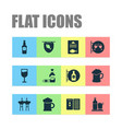 alcohol icons set with beer elite rum glass of vector image