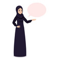 arab muslim girl in hijab veil points at something vector image vector image