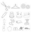 atelier and sewing outline icons in set collection vector image vector image