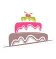 cake with glaze and cherries logo vector image vector image