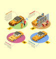 car wash 4 isometric infographic icons vector image vector image