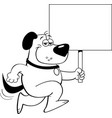 cartoon dog running and holding a sign vector image vector image
