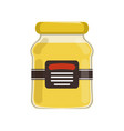 cartoon glass jar with natural honey bank with vector image