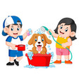 children are clean his dog with soap vector image vector image