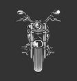 chopper motorcycle front view isolated on black vector image