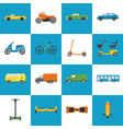 collection transport icons in flat style vector image