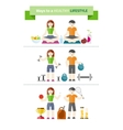 Concept of healthy lifestyle and wellbeing vector image vector image