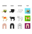 country india cartoonblackoutlineflat icons in vector image