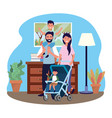 couple with bacarriage vector image vector image