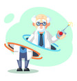 crazy old scientist is teleporting funny vector image vector image