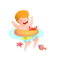 cute boy kid swimming with inflatable ring vector image vector image