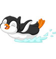 cute penguin cartoon sliding on water vector image