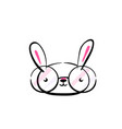 cute smiling kawaii easter bunny face with glasses vector image